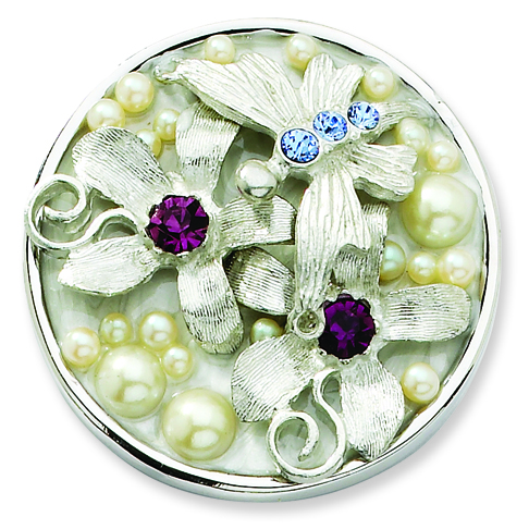 Silver-tone Cultura Glass Pearl Crystal Flower Butterfly Purse Holder