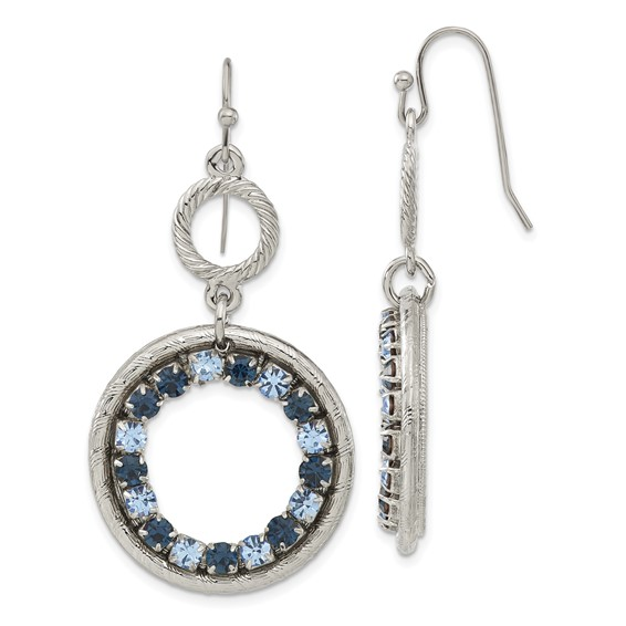 Silver-tone Light Dark Blue Crystal Circle Drop Earrings