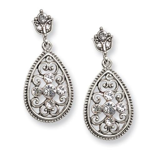 Silver-tone Crystal Teardrop Post Earrings