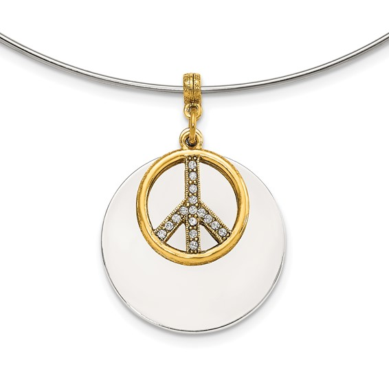 Silver-tone with Gold-tone and Crystal Peace Symbol 17in Choker