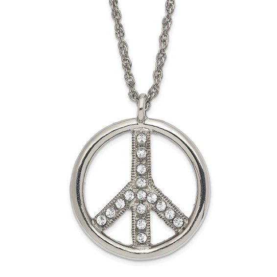 Silver-tone Crystal Peace Symbol 16in Necklace