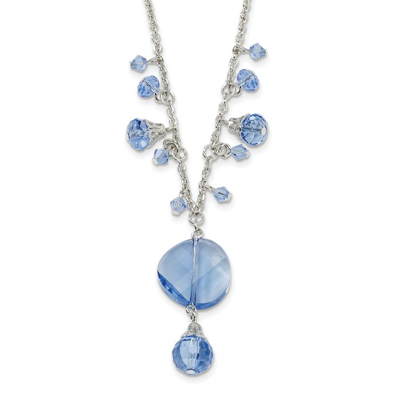 Silver-tone Light Blue Crystal Drop 16in Necklace