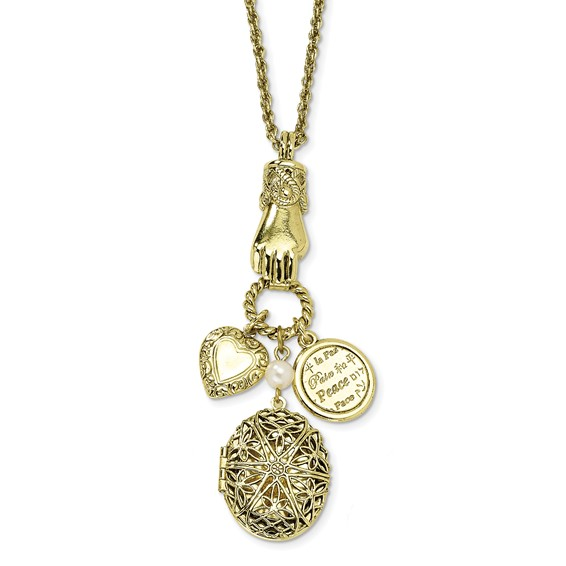 Brass-tone Locket and Charms 30in Necklace