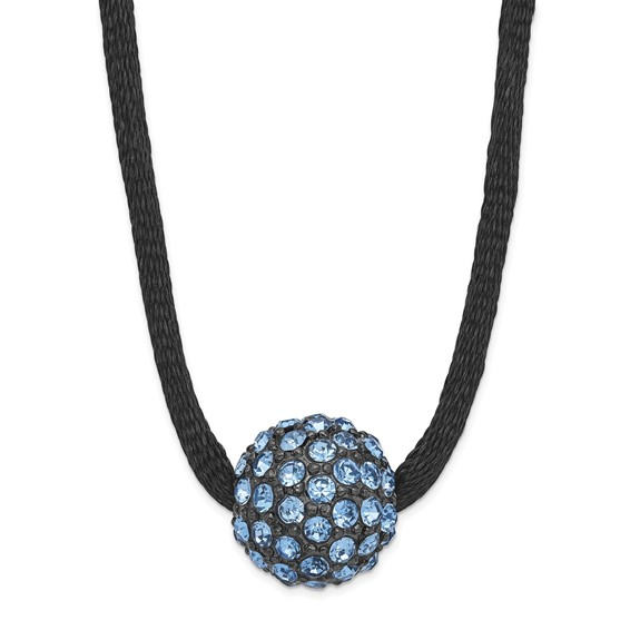Black-plated Blue Crystal Fireball on 16in Satin Cord Necklace