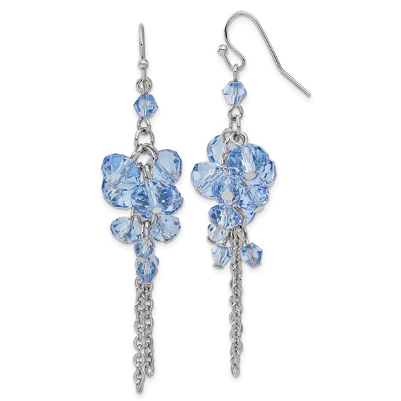 Silver-tone Blue Crystal Bead Cluster Drop Earrings