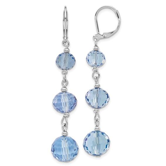 Silver-tone Blue Crystal Bead Linear Drop Earrings