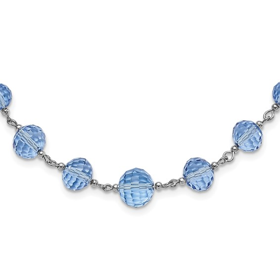 Silver-tone Blue Crystal Beaded 16in Necklace