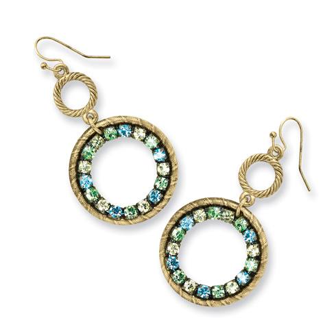 Brass-tone Blue Green and Light Colorado Crystal Circle Dangle Earrings