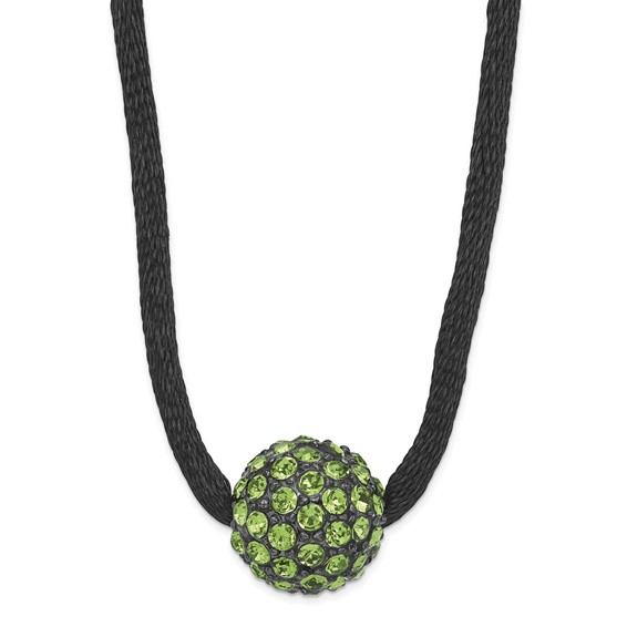 Black-plated Green Crystal Fireball on 16in Satin Cord Necklace