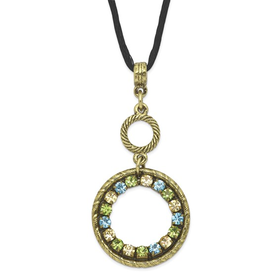 Brass-tone Blue Green and Light Colorado Crystal Circle 16in Necklace