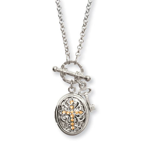 Silver-tone Yellow Crystal Cross Locket 24in Necklace