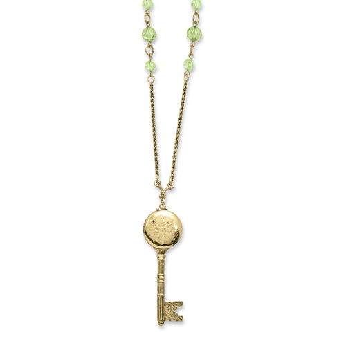 Brass-tone Green Crystals Locket Key 22in Necklace