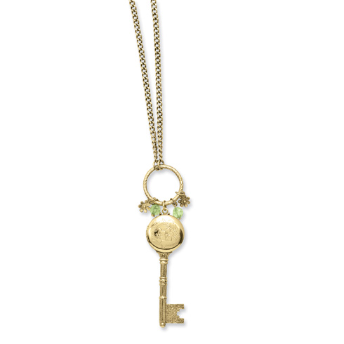 Brass-tone Key Locket with Charms 21in Necklace