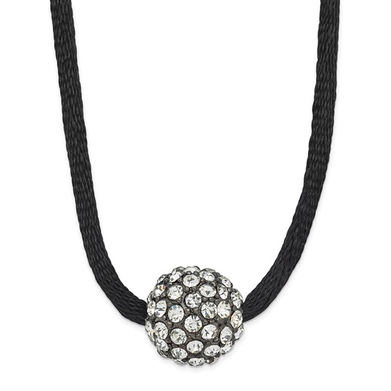 Black-plated Clear Crystal Fireball on 16in Satin Cord Necklace