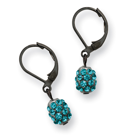 Black-plated Teal Crystal Fireball Leverback Earrings