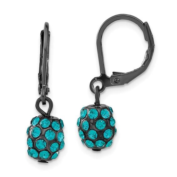 Black-plated Teal Crystal Fireball Leverback Earrings