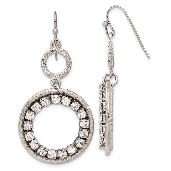 Silver-tone Clear Crystal Circle Drop Earrings