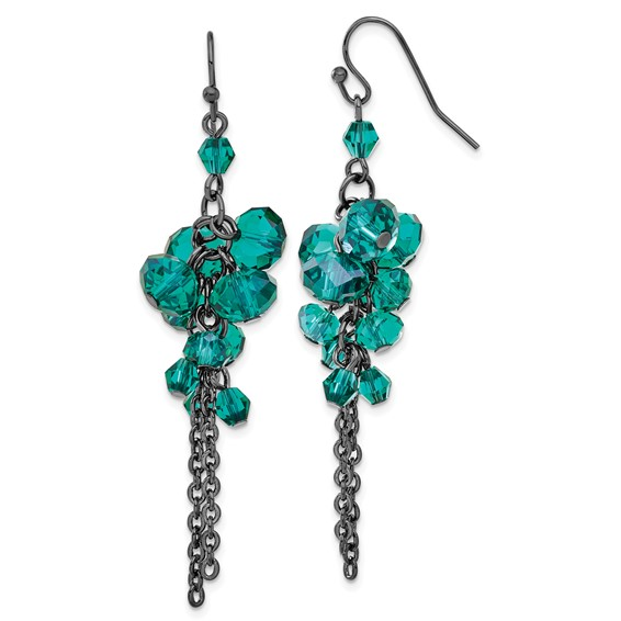 Silver-tone Turquoise Crystal Bead Cluster Drop Earrings