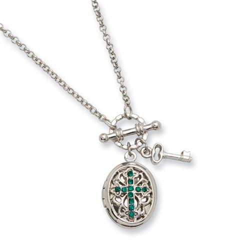 Silver-tone Dark Green Crystal Cross Locket 24in Necklace