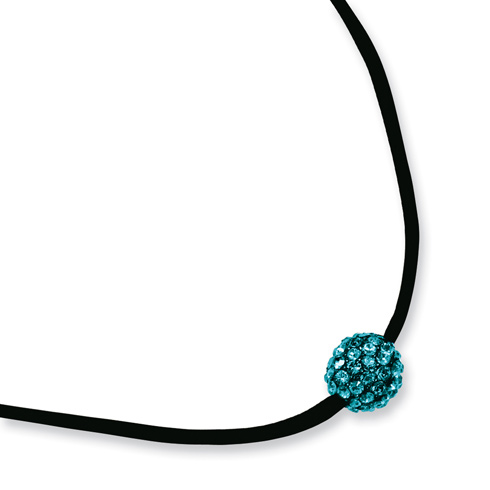 Black-plated Teal Crystal Fireball on 16in Satin Cord Necklace