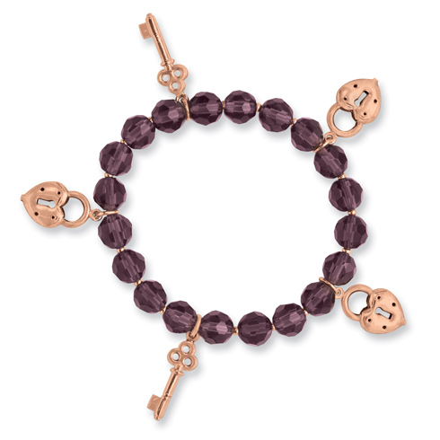 Copper-tone Beaded Purple Crystal and Charms Stretch Bracelet