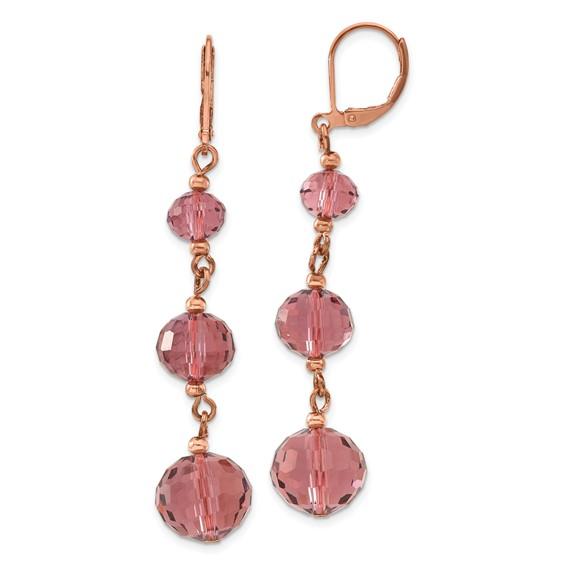 Rose-tone Purple Crystal Leverback Earrings