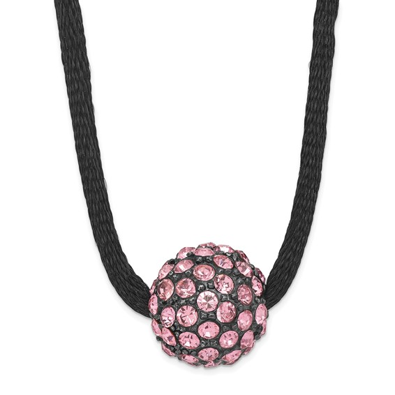 Black-plated Pink Crystal Fireball on 16in Satin Cord Necklace