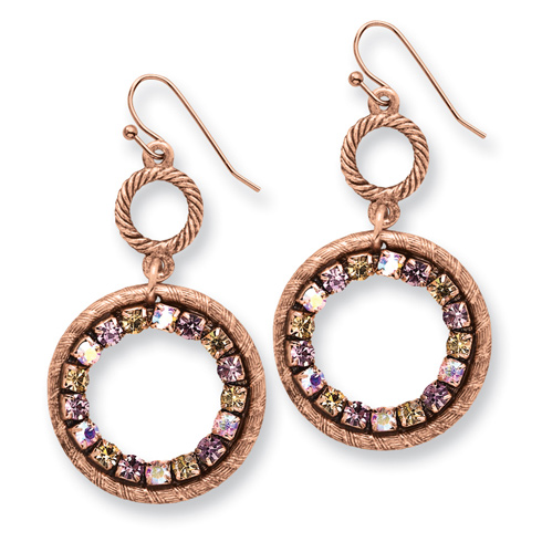 Copper-tone Purple Pink and Colorado Crystal Circle Dangle Earrings