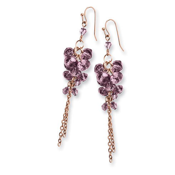 Brass-tone Purple Crystal Cluster Dangle Earrings