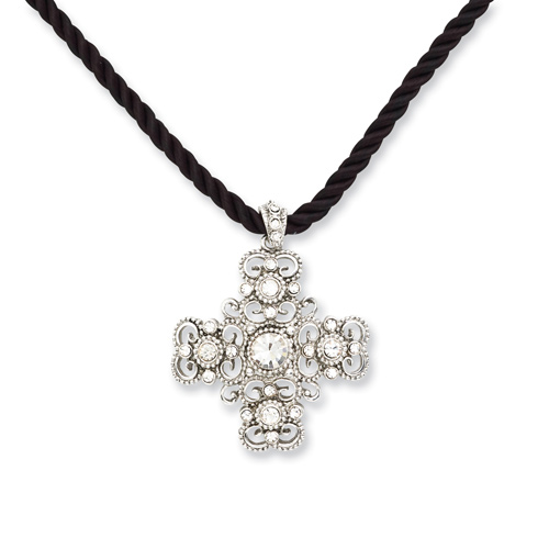 Silver-tone Crystal Cross on 16in Cord Necklace