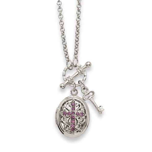 Silver-tone Purple Crystal Cross Locket 24in Necklace