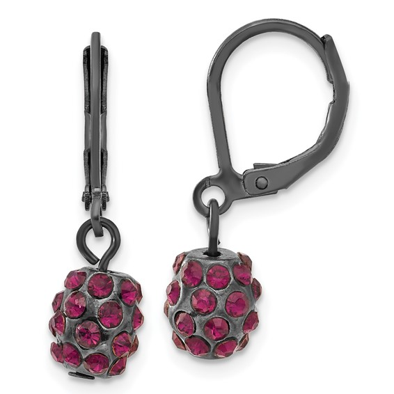 Black-plated Purple Crystal Fireball Leverback Earrings