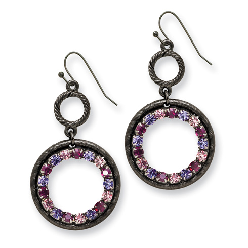 Black-plated Light and Dark Pink and Purple Crystal Circle Drop Earrings