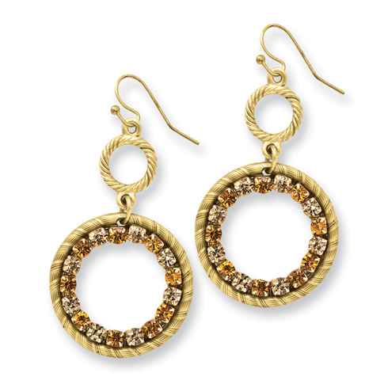 Gold-tone Light and Dark Colorado Crystal Dangle Earrings