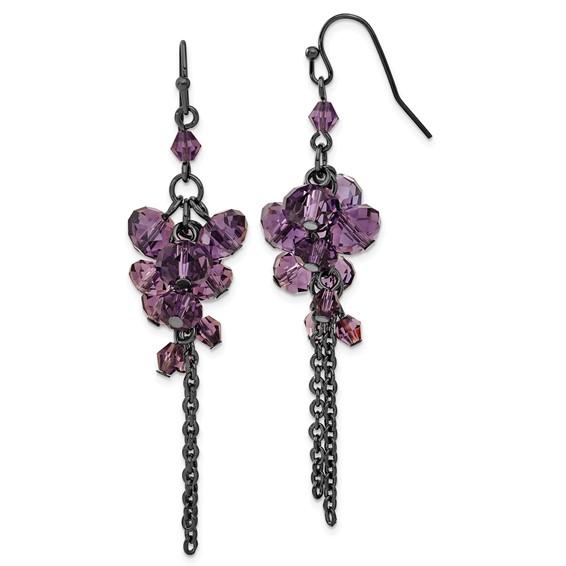 Black-plated Purple Crystal Bead Cluster Drop Earrings
