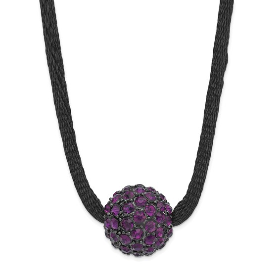 Black-plated Purple Crystal Fireball on 16in Satin Cord Necklace