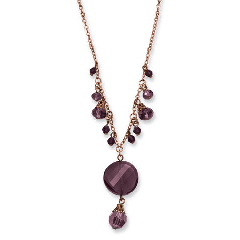 Rose-tone Dark Red Crystal Drop 16in Necklace