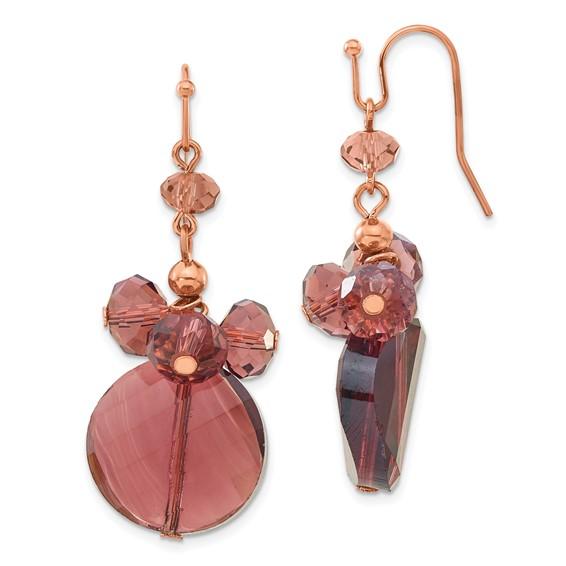 Rose-tone Dark Red Crystal Round Drop Earrings