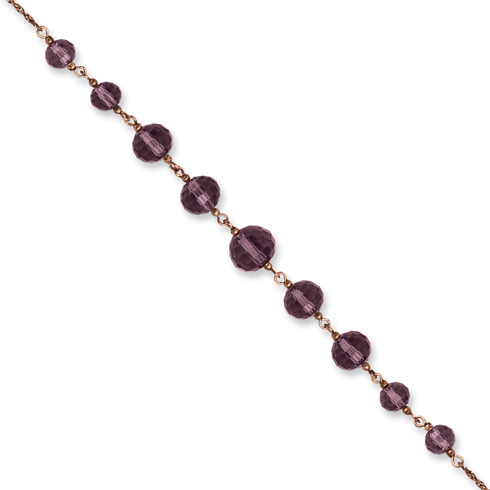 Rose-tone Purple Crystal Bead 16in Necklace