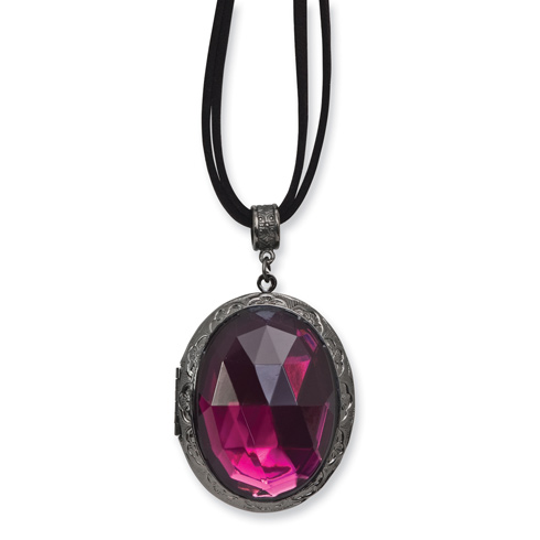 Black-plated Purple Stone on 30in Double Cord Necklace