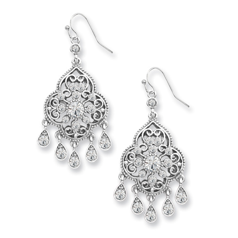 Silver-tone Crystal Chandelier Drop Earrings
