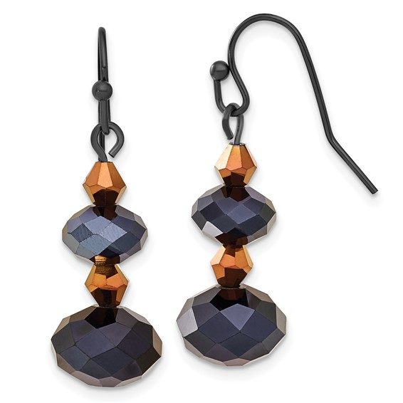 Black-plated Black and Brown Crystal Dangle Earrings