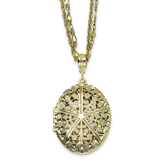 Brass-tone Oval Locket on 16in Double Chain Necklace