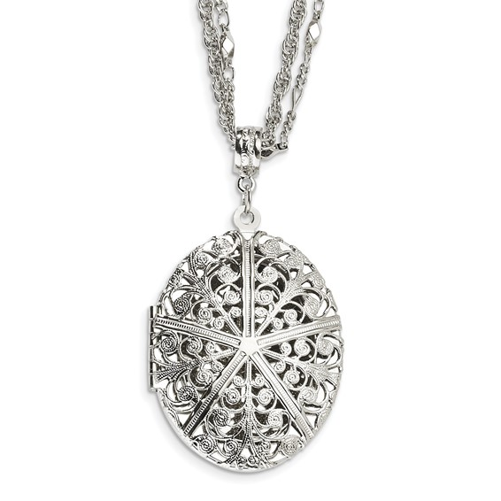 Silver-tone Oval Locket on 16in Double Chain Necklace