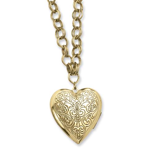 Brass-tone Heart Locket on 28in Necklace