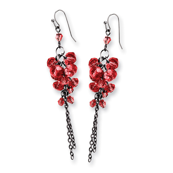 Black-plated Red Crystal Beaded Cluster Drop Earrings