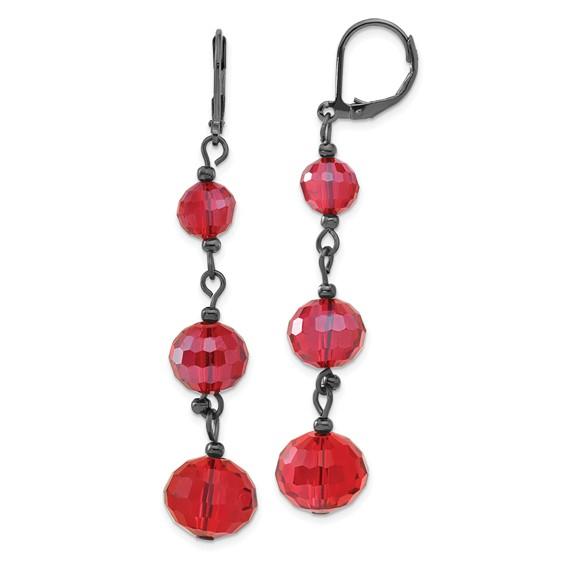 Black-plated Red Crystal Bead Linear Drop Earrings