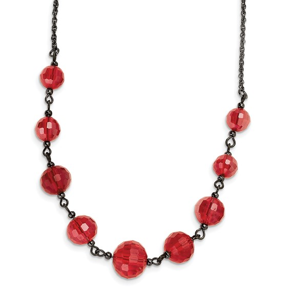 Black-plated Red Crystal Beaded 16in Necklace
