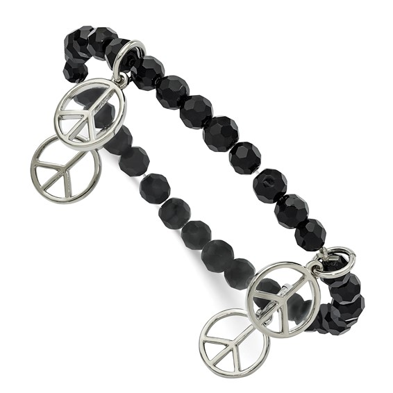 Peace Charms on Black Crystal Beaded Stretch Bracelet