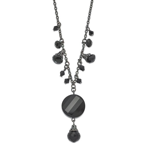 Black-plated Black Crystal Drop 16in Necklace